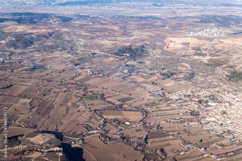 Aerial view of Morata de Tajuna town and surrounding landscape, Spain Wallpaper Mural