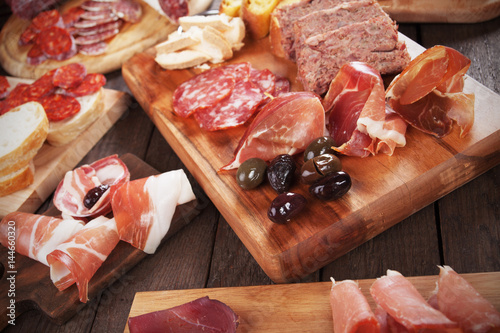 Fotografie, Obraz  Charcuterie board with cured meat