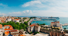 The Embankment Of The Old Town Of Split In Croatia.
