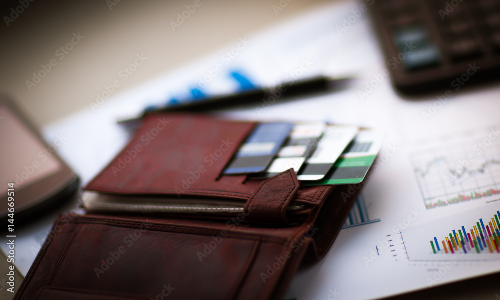 Fototapeta leather wallet with credit in discount cards