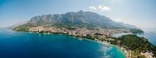 Aerial Photo Drone Makarska, Croatia. Coast City, Sea And Mountains