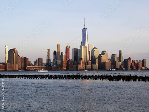 Downtown Manhattan skyline at afternoon from Hoboken Jersey City