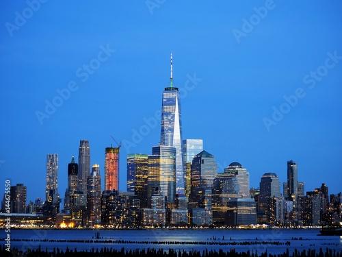 Downtown Manhattan skyline at dusk from Hoboken Jersey City