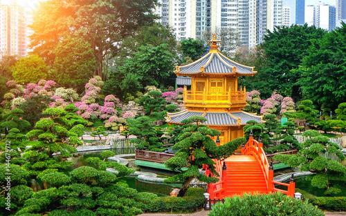 Photo The Golden Pavilion of absolute perfection in Nan Lian Garden in Chi Lin Nunnery, Hong Kong