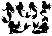 Silhouette Of A Mermaid Collection Vector Illustration