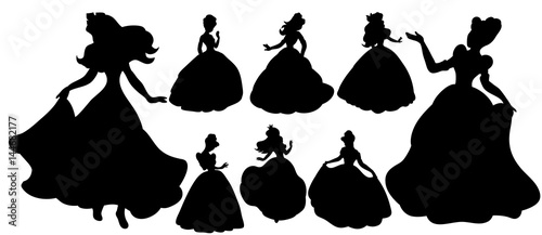 Fotografie, Obraz  Vector, collection of silhouettes of princess