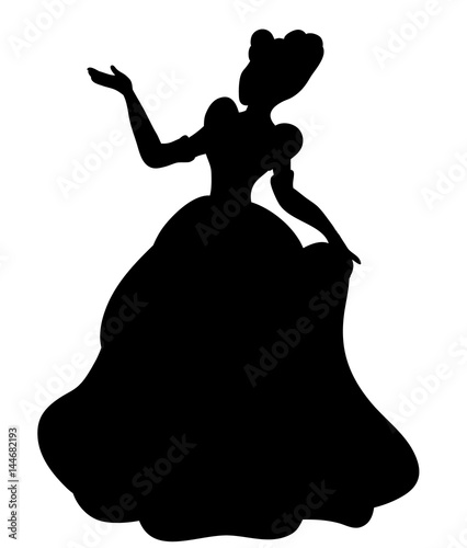 Stampa su Tela Vector, black silhouette princess illustration