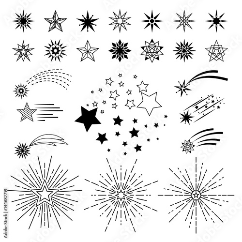Obraz Doodle sketch night star set - fototapety do salonu