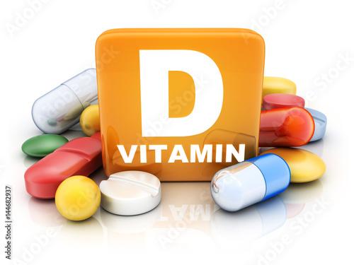 Fototapeta Many tablets and vitamin D obraz