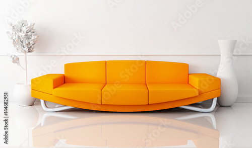 Fényképezés  Orange sofa in white room