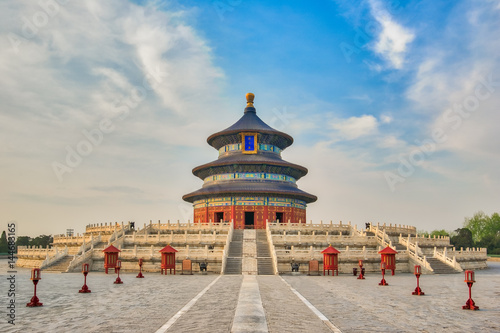 Photo Stands Beijing Hall of Prayer for Good Harvests in Temple of Heaven in Beijing city, China