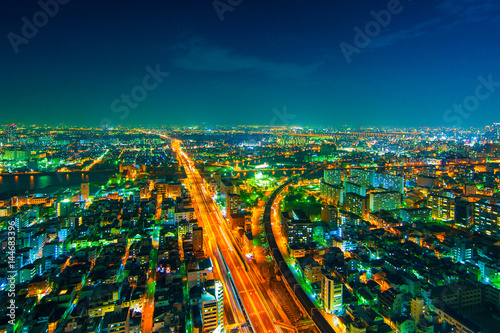 Foto op Plexiglas Japan The image of the night city from the height of a bird's flight.