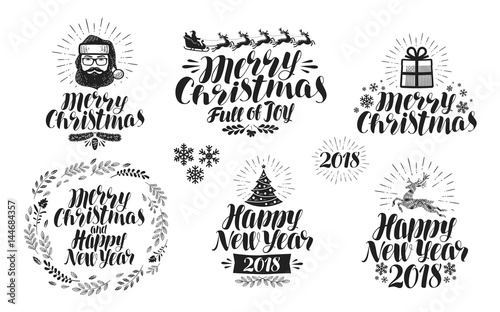 merry christmas or happy new year label set xmas icon or logo typographic