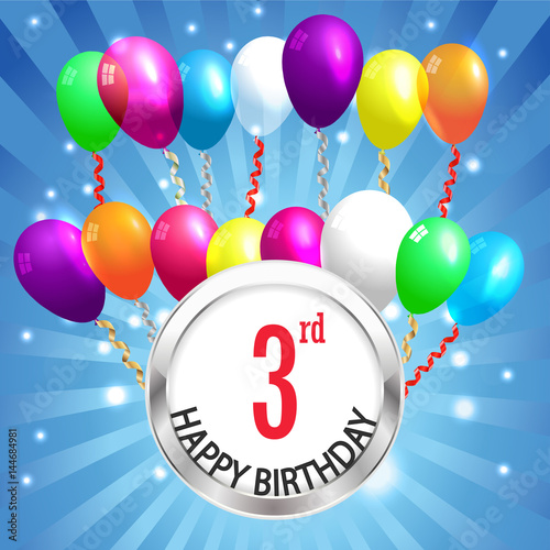 3rd Birthday Background 3 Years Celebration Invitation Card Vector