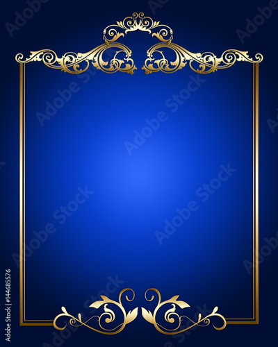 gold vintage border ornament on blue background buy this stock