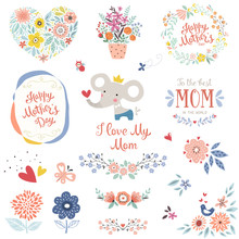 Mother's Day Collection With Typographic Design Elements. Cute Elephant, Flowers, Branches, Wreath, Floral Heart, Butterflies, Plant Pot And Bird. Vector Illustration.