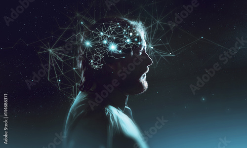 Fotografie, Obraz  Profile of bearded man with symbol neurons in brain