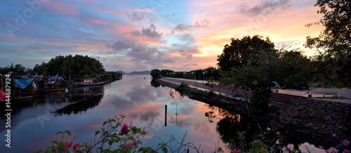 Reflection of Songkhla Lake at sunset