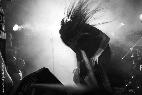 Metal singer headbanging Poster