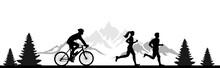 Silhouette Jogger Radfahrer Berge
