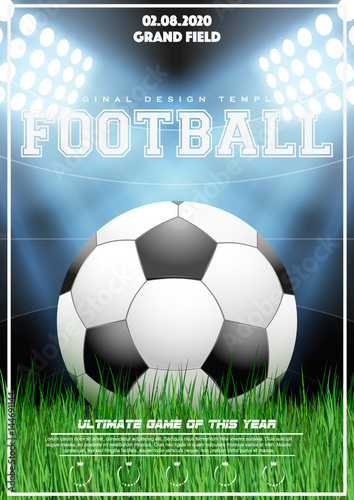 Poster Template With Football Tournament Soccer Ball On Grass And Night Stadium Cup