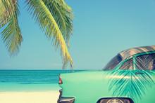 Classic Car On A Tropical Beac...
