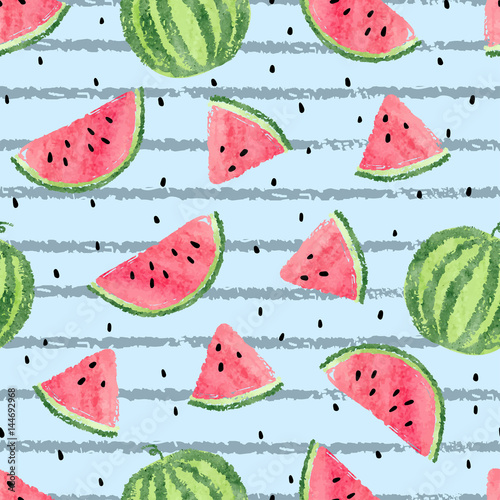 Cotton fabric Seamless watermelon pattern. Vector striped summer background with watercolor watermelon slices.