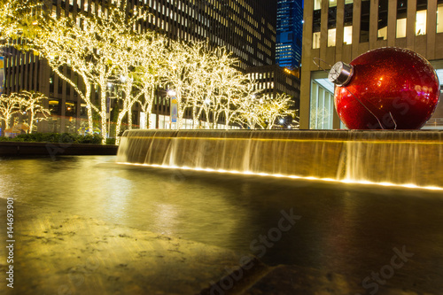 Fotografie, Obraz  Pool around rockefeller was decorated by lighting in X'mas and new year period