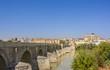 Cordoba, Spain. Famous Roman Bridge and Guadalquivir river.