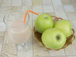 the drinks on the table with apples