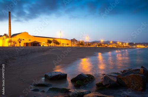 Twilight view of beach  at Badalona Canvas Print