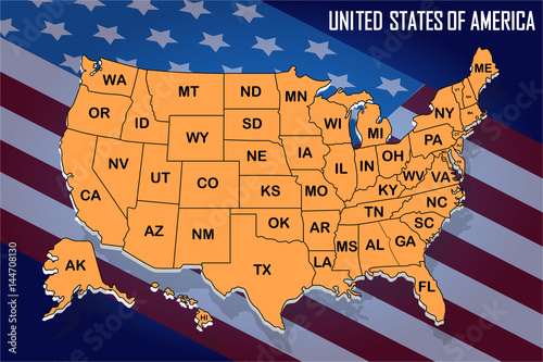 Poster map of United States of America with state names on ...