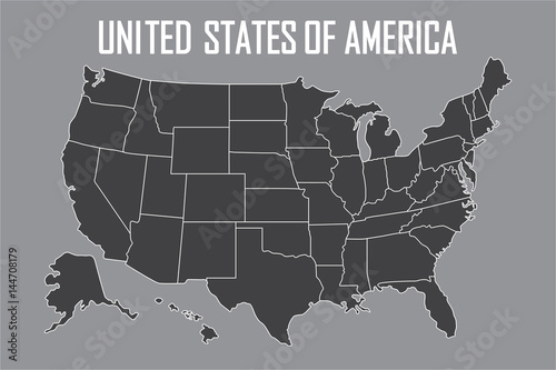 USA map with state boundaries. Blank black contour isolated ... Gray State Map Usa on gray italy map, gray russia map, gray global map, gray poland map, gray world map, gray europe map, gray belgium map, gray puerto rico map, gray canada map, gray indonesia map, gray mexico map, gray asia map,