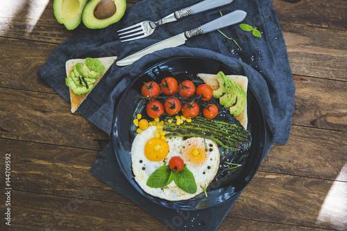 Happy Face Frying Eggs breakfast. Canvas Print