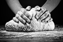Woman's Hands Kneading The Dou...