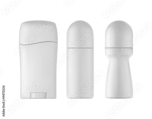 Photo Deodorant bottles set on white background. 3D illustration.