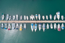 Large Marina With Various Yachts And Boats - Aerial Image