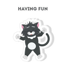 Cat Is Having Fun. Isolated Cute Sticker On White Background.
