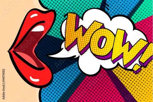Staande foto Pop Art Open mouth and WOW Message