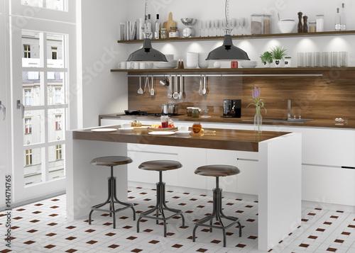 Fotografie, Obraz  Küche Einbauküche weiss Küchenzeile Kücheblock Kochinsel