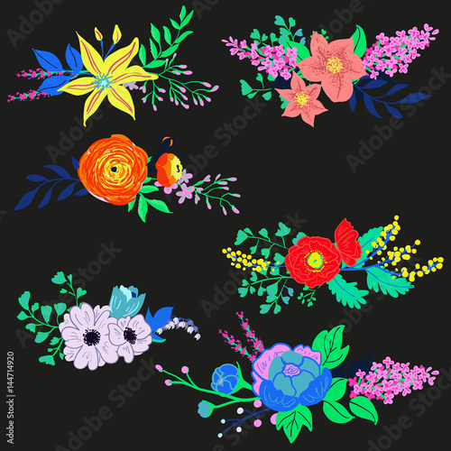 Vector rustic flowers composition bright spring flowers bouquet vector rustic flowers composition bright spring flowers bouquet hand drawn vibrant flowers for wedding mightylinksfo