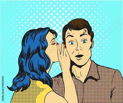 Fotografie, Obraz  Man and woman whisper pop art vector illustration