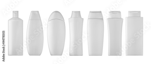 Fotografie, Obraz  Shampoo bottles set on white background. 3D illustartion.