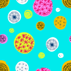 Panel Szklany Seamless pattern with hand drawn circle doodle stylish elements.