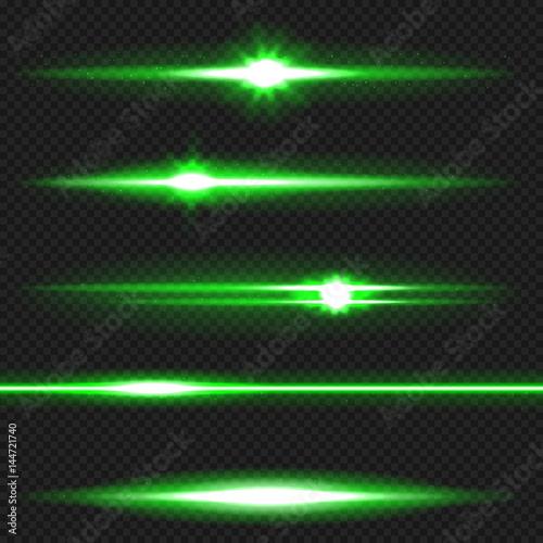 Photo  Green laser beams pack