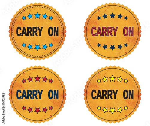 Fotografie, Obraz  CARRY ON text, on round wavy border vintage, stamp badge.