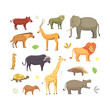 African animals cartoon vector set. elephant, rhino, giraffe, cheetah, hyena, lion, hippo, and outhers. safari isolated illustration.