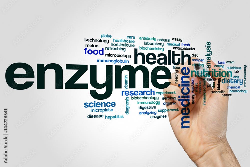 Fototapeta Enzyme word cloud concept on grey background