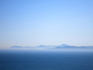 View of Dublin Bay and Wicklow Mountains from Howth Head, Co Dublin, Ireland