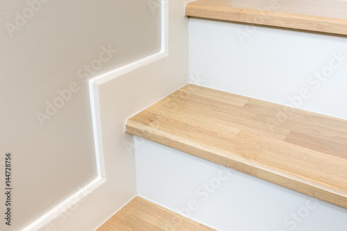 Spoed Foto op Canvas Trappen modern stair design with wooden tread and white riser